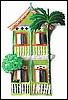 "Painted Metal Tropical Gingerbread House Wall Decor - 11"" x 17"