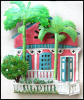 Painted Metal Caribbean Gingerbread House Wall Hanging - Tropical Decor