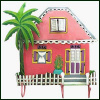 "Gingerbread Caribbean House Wall Hook - Painted Metal  Tropical Decor - 11"" x 11"""