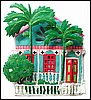 "Tropical Gingerbread House Wall Hanging - Haitian Steel Drum Painted Metal Art - 13"" x 19"""