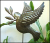"Metal Dove Outdoor Garden Plant Stake - Haitian Steel Drum Art - 12"" x 14"""