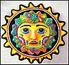 Painted Metal Sun Design, Tropical Wall Decor - Haitian Metal Art, Painted Metal Wall Hanging - Garden Art - 24""