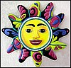 Metal Sun Design Wall Hanging -  Hand Painted Tropical Decor - 17""