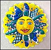 Sun Design Painted Metal Wall Hanging - Handcrafted Tropical Decor - 24""