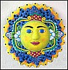 Blue Sun Design Wall Hanging in Hand Painted Metal - 34""