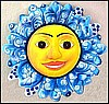 Metal Sun Design Wall Hanging  Painted Mainted Outdoor Garden Decor - 17""