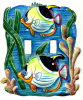 Painted Metal Light Switchplate Cover - Tropical Fish - 2 holes