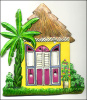 Painted Metal Tropical Thatched Roof House Switch Plate Cover - 2 Holes