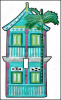 Hand Painted Metal 2 Story Caribbean Gingerbread House Light Switch Cover - Tropical Metal