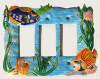 Hand Painted Metal Rocker Switch Plate Cover - Tropical Fish - 3 holes
