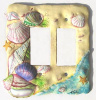 Shell Switchplate Cover - Hand Painted Metal - 2 holes - Rocker Style Wall Plate