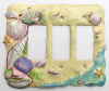 Shell Switch Plate Cover -  Hand Painted Metal - 3 holes - Rocker Style Switchplate