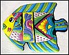 "Decorative Tropical Fish Wall Decor - Painted Metal Outdoor Patio Art - 14"" x 18"" Tropical Decor"