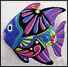 "Decorative Tropical Fish Metal Outdoor Decor, Painted Metal Garden Wall Art, Haitian Steel Drum Metal Art - 34"" X 34"""