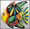 Tropical Fish Wall Hanging, Hand Painted Metal, Metal Wall Art, Tropical Decor, Metal Art - 17""
