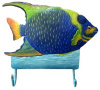 "Blue Angelfish Bathroom Wall Hook -Painted Metal Tropical Fish Hook - Beach Decor 8"" x 9 1/2"""